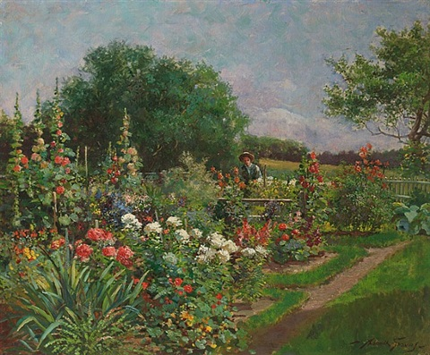 garden with hollyhocks by abbott fuller graves