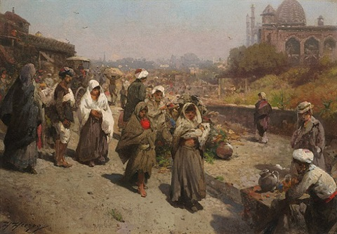 east india street scene by hermann herzog