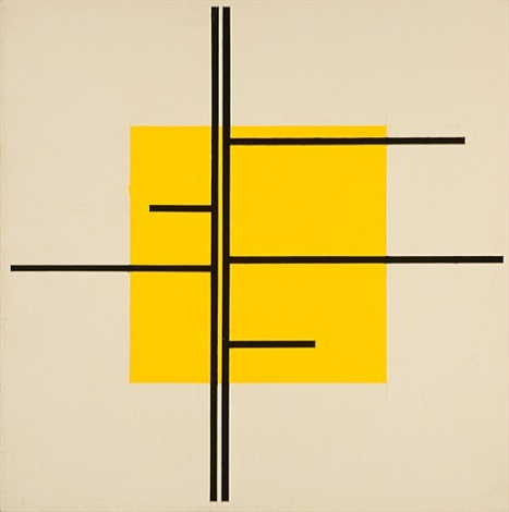 untitled (black lines, yellow square) by josé de rivera