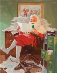 santa reading christmas letters by john newton howitt