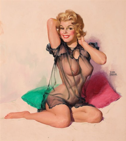 pin up in sheer top by earl steffa moran