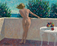 nude blonde on balcony by arthur saron sarnoff