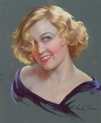 portrait of marion davies, magazine cover by mila baine