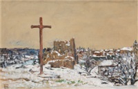 cross on a winter hilltop by harvey t. dunn