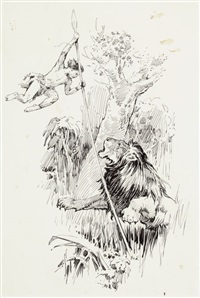 the boy sailed over the lion's head, pl.7 (from son of tarzan) by j. allen st. john