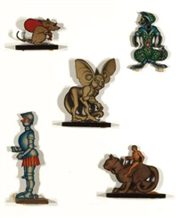 wood fantasy, group of five figurines (5 works) by hannes vajn bok