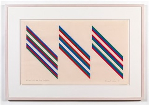bright red blue green diagonals by bridget riley