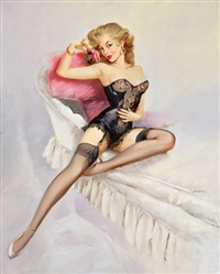 pin-up in black lingerie by mauro scali