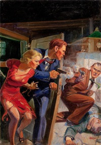 shoot-out, star detective stories pulp cover, july by john walter scott