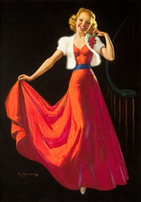 pin-up in red dress by knute o. munson
