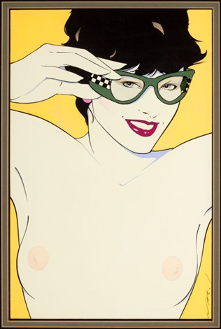 nude with sunglasses study for playboy by patrick nagel