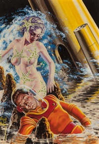 viridi, goddess of nature, other worlds science stories magazine cover, june 1956 by virgil finlay