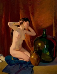pensive art deco nude by frederick sands brunner