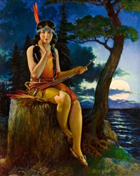 indian maiden in the moonlight by homer nelson