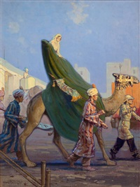 arabian scene, magazine cover art by victor coleman anderson