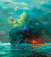 island city in green, magazine cover by paul lehr