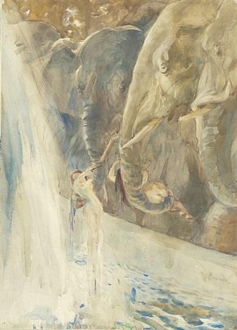 femmes se baignant avec des éléphants by paul-albert besnard