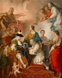the duke of saint aignan investing girolamo vaini, prince of cantalupe and duke of selci, with the insignia of a knight of the holy spirit, 1737 by pierre hubert subleyras