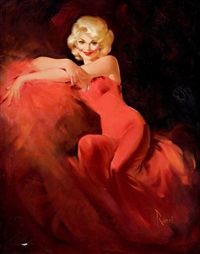 blonde in red dress by edward runci