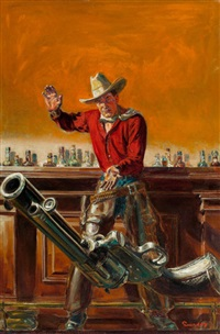 throwing the gun, western story magazine, pulp cover, april 8 by norman saunders