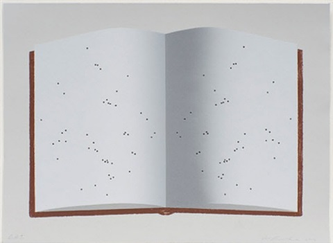 open book with worm holes by ed ruscha