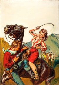 western trails (pulp cover, march 1943) by norman saunders