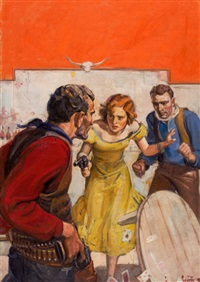 the hustler (pulp cover for western novel and short stories, december 1934) by john walter scott
