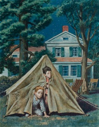 backyard campers, saturday evening post cover, september 5, 1953 by amos sewell