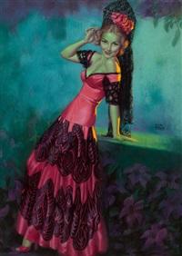 fiesta queen, brown & bigelow calendar pin-up by earl steffa moran