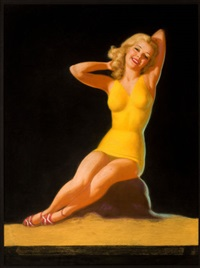 blonde pin-up in yellow, calendar illustration by earl steffa moran
