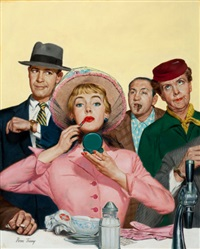waiting for a seat (magazine cover for american weekly) by verne tossey