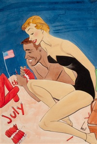 couple on beach with 4th of july fireworks by earl oliver hurst