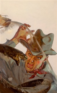 attacked by a viper, western pulp magazine cover by raymond rabreau
