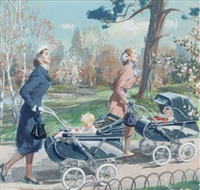 biggest baby news in years!, thayer stroller advertisement by john gannam