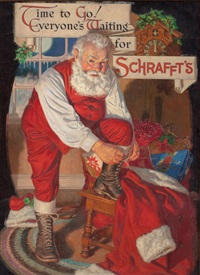 time to go!, everyone's waiting for schrafft's, schrafft's chocolate advertisement by walter beach humphrey