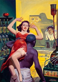 through fire (cover for spicy mystery stories, february 1940) by hugh j. ward