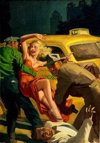 mrs. big, super detective pulp cover, april by hugh j. ward