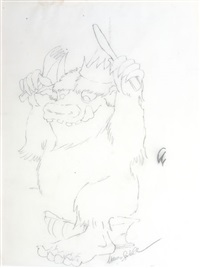 wild thing, where the wild things are, book sketch by maurice sendak