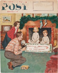 christmas greetings from the cunninghams, saturday evening post cover (study) by amos sewell