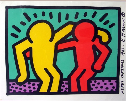untitled pop shop 1 authenticated christmas card by keith haring