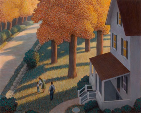 house and family in the autumn story illustration by chris van allsburg