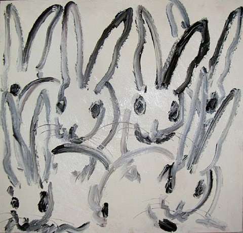 several black bunnies by hunt slonem