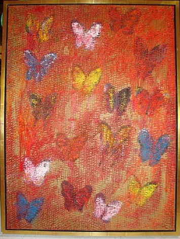 multicolored butterflies by hunt slonem