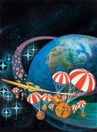 spaced out airbrush, jerry's art-o-rama art supply catalog cover by kelly freas