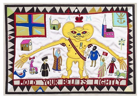 hold your beliefs lightly (tapestry) embroidery by grayson perry