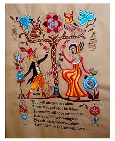 recipe for humanity (tapestry) embroidery by grayson perry