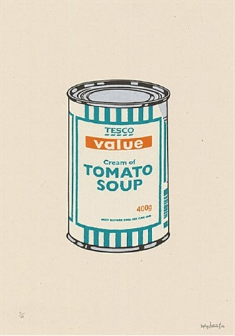 soup can (white, emerald, tan) by banksy
