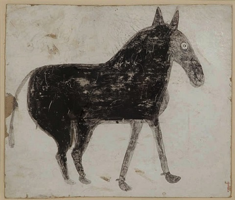 untitled, (black mule on white) by bill traylor