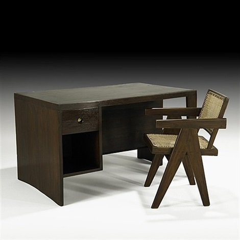office table' desk and chair -- designed for administrative buildings by pierre jeanneret
