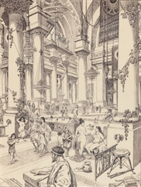 the tepidarium- the baths of caracalla by roy krenkel